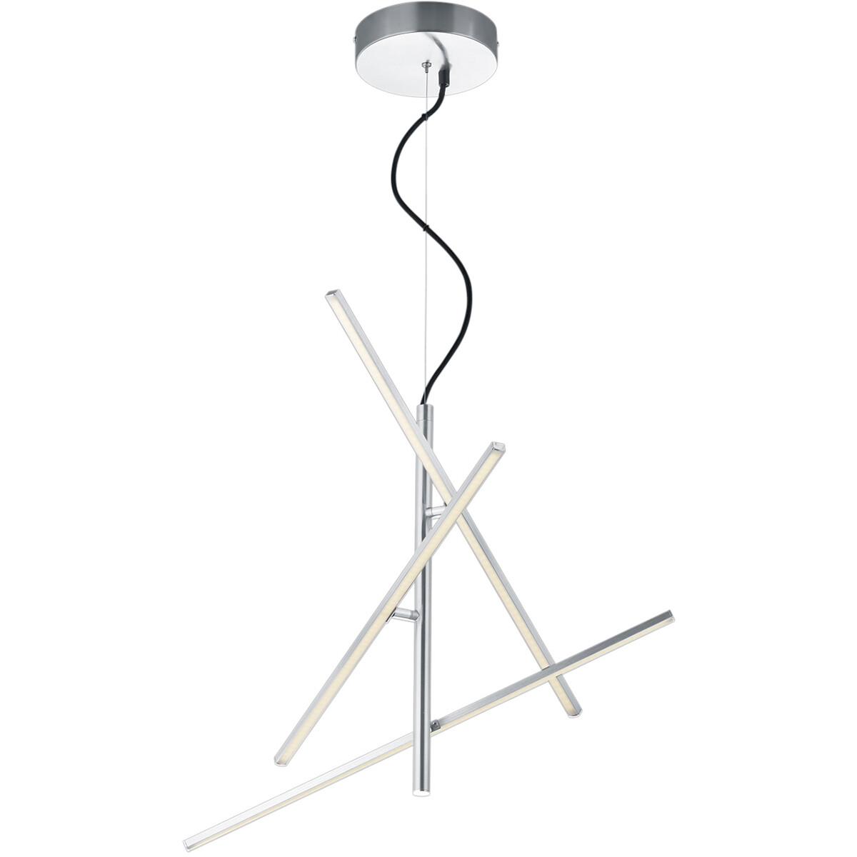 LED Hanglamp - Hangverlichting - Trion Tiraki - 21W - Warm Wit 3000K - Rechthoek - Mat Nikkel - Alum