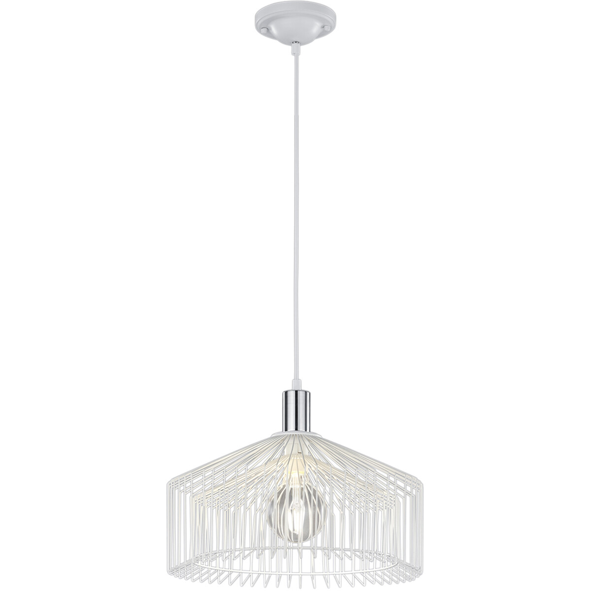LED Hanglamp - Hangverlichting - Trion Tomno - E27 Fitting - Rond - Mat Wit - Aluminium