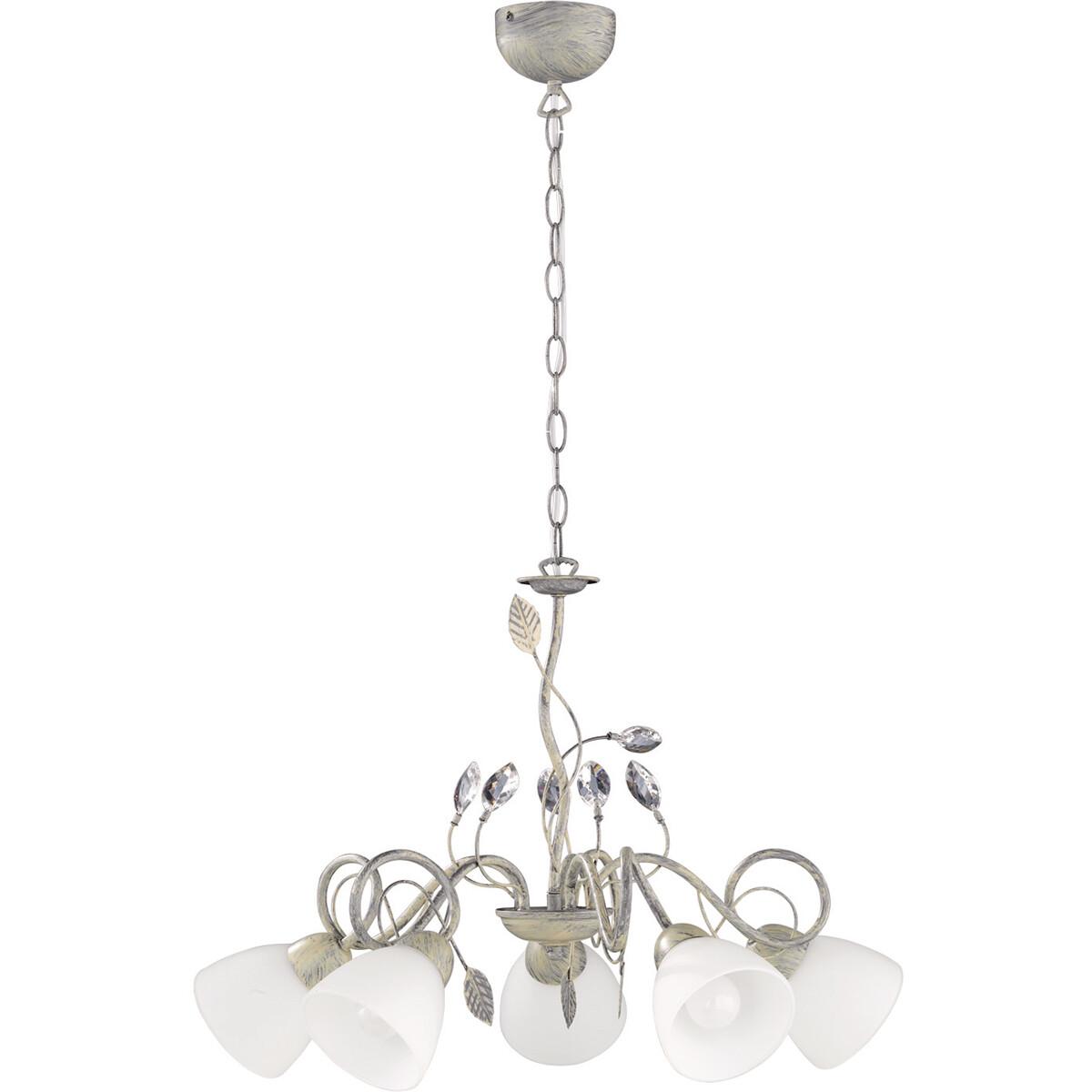 LED Hanglamp - Hangverlichting - Trion Trada - E14 Fitting - 5-lichts - Rond - Antiek Grijs - Alumin