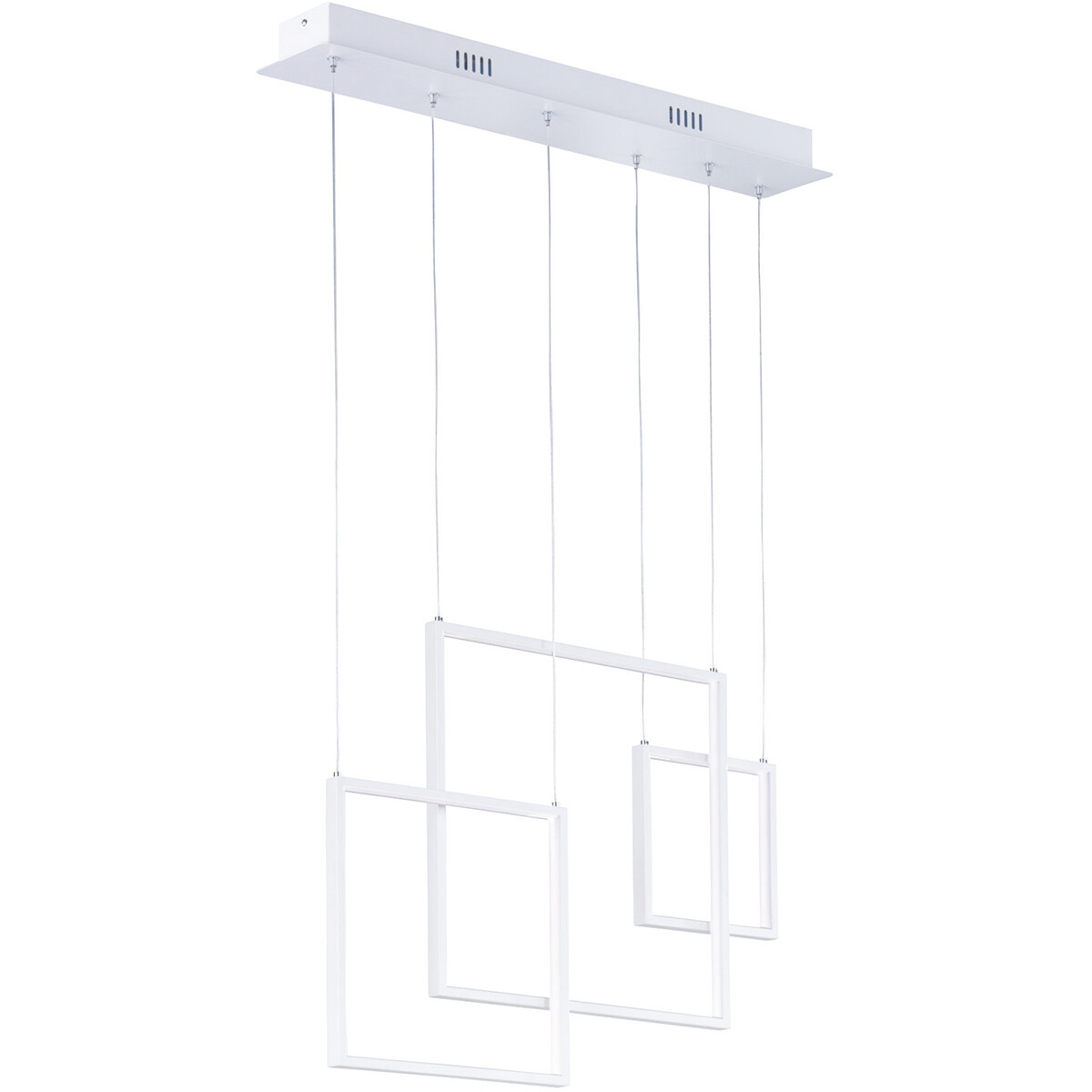LED Hanglamp - Hangverlichting - Trion Tucino - 26W - Warm Wit 3000K - Rechthoek - Mat Wit - Alumini