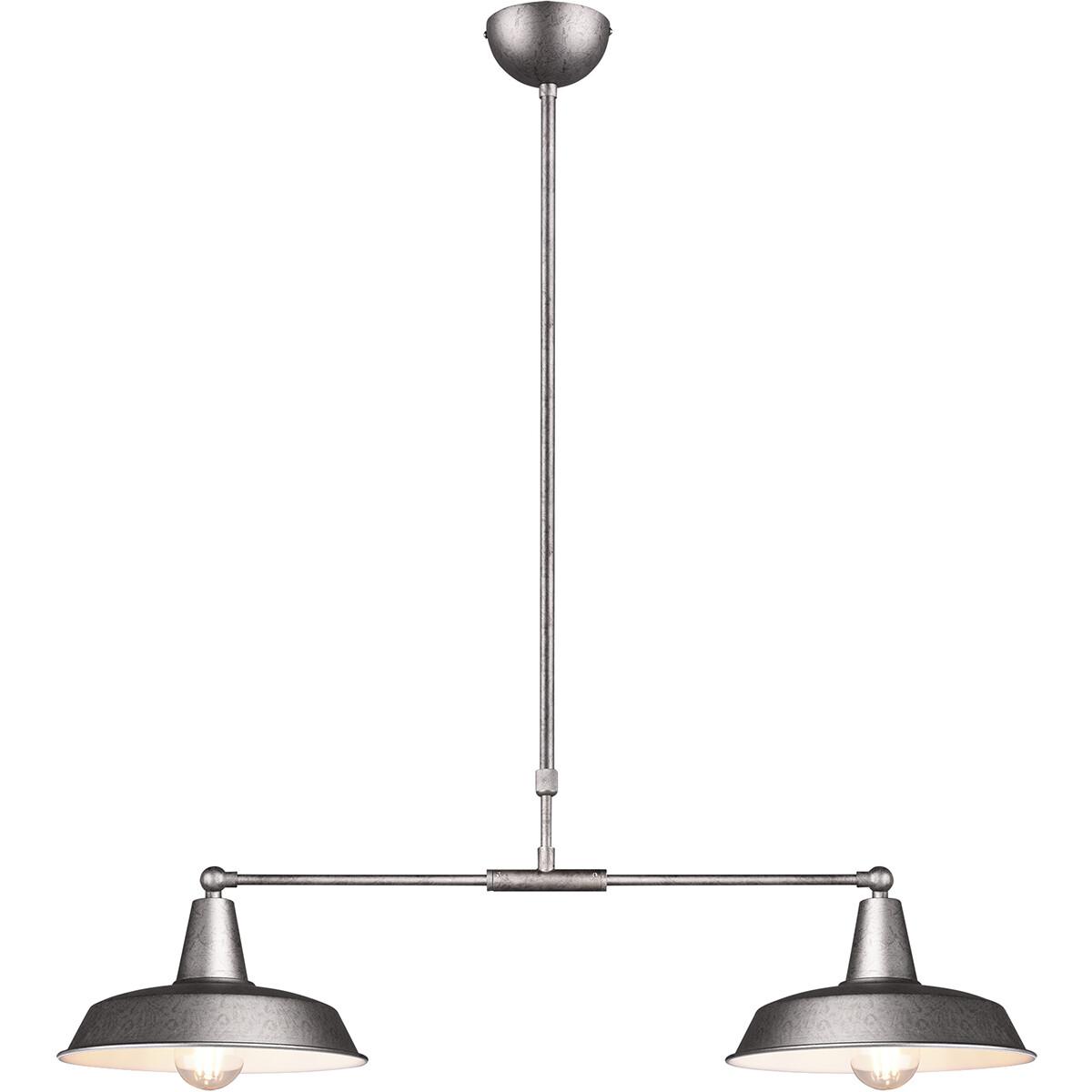 LED Hanglamp - Hangverlichting - Trion Wolta - E27 Fitting - 2-lichts - Rond - Antiek Nikkel - Alumi