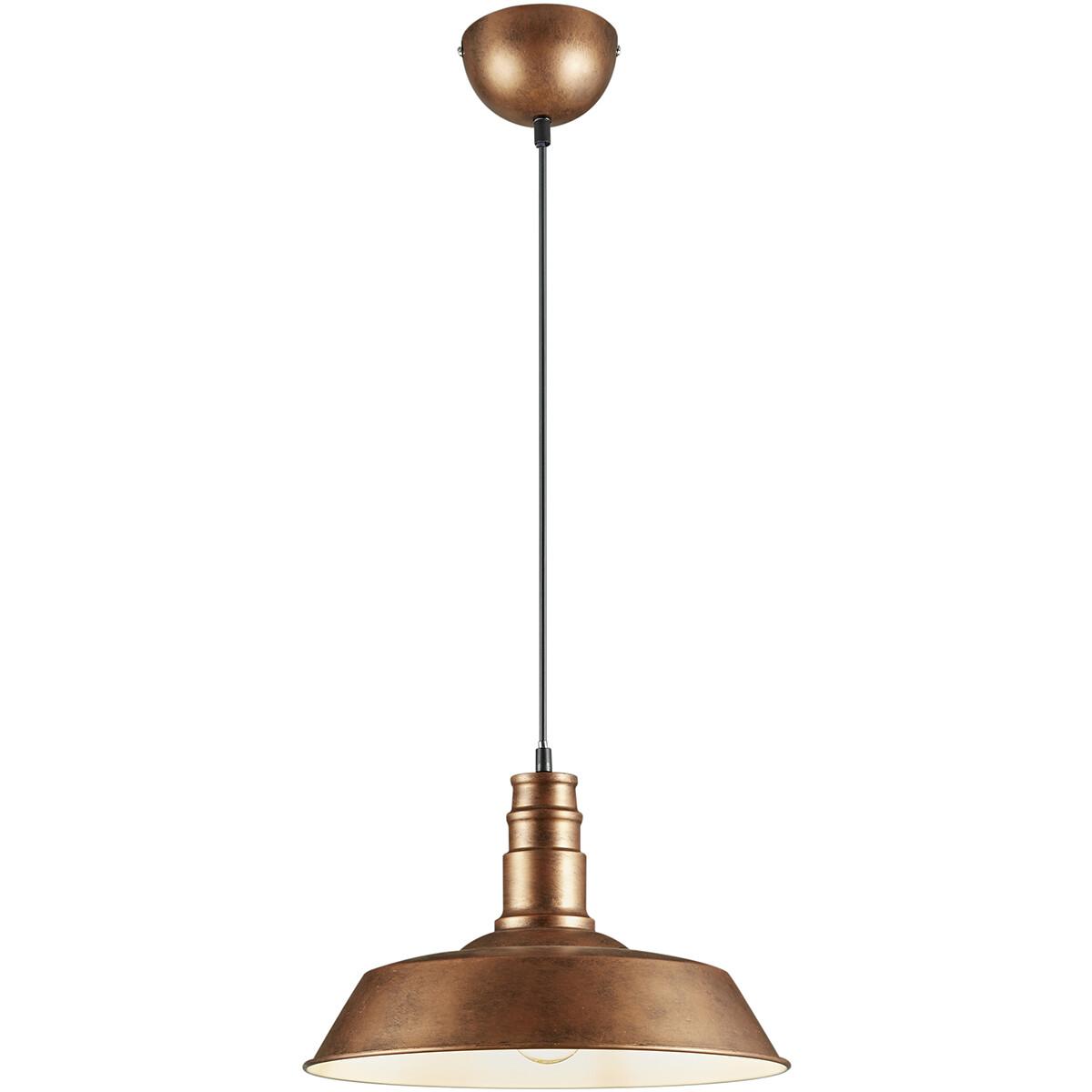 LED Hanglamp - Hangverlichting - Trion Wulo - E27 Fitting - Rond - Antiek Koper - Aluminium
