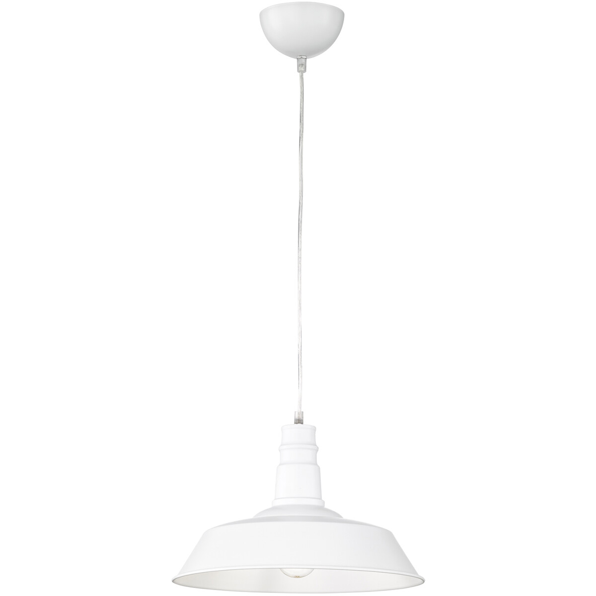 LED Hanglamp - Hangverlichting - Trion Wulo - E27 Fitting - Rond - Mat Wit - Aluminium