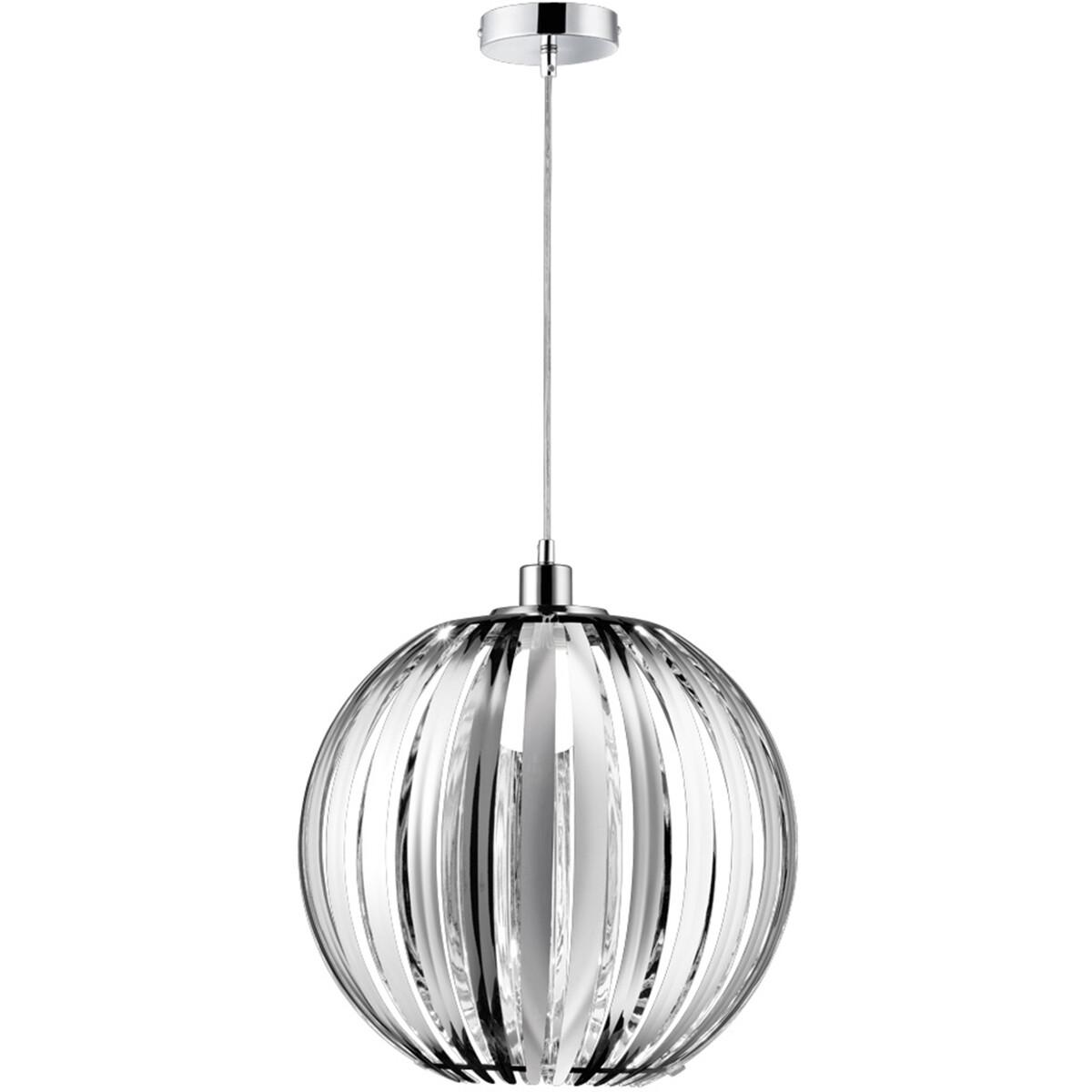 LED Hanglamp - Hangverlichting - Trion Zuka - E27 Fitting - Rond - Glans Chroom - Acryl