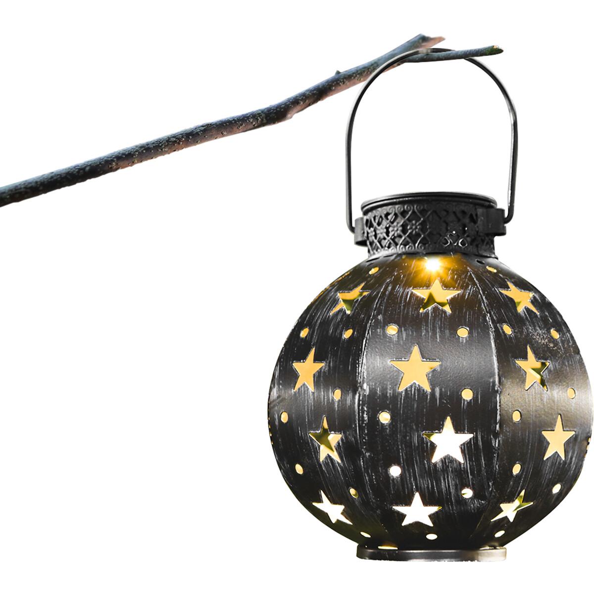 LED Hanglamp met Zonne-energie - Aigi Uki - 0.16W - Warm Wit 3000K - Mat Zwart - Kunststof