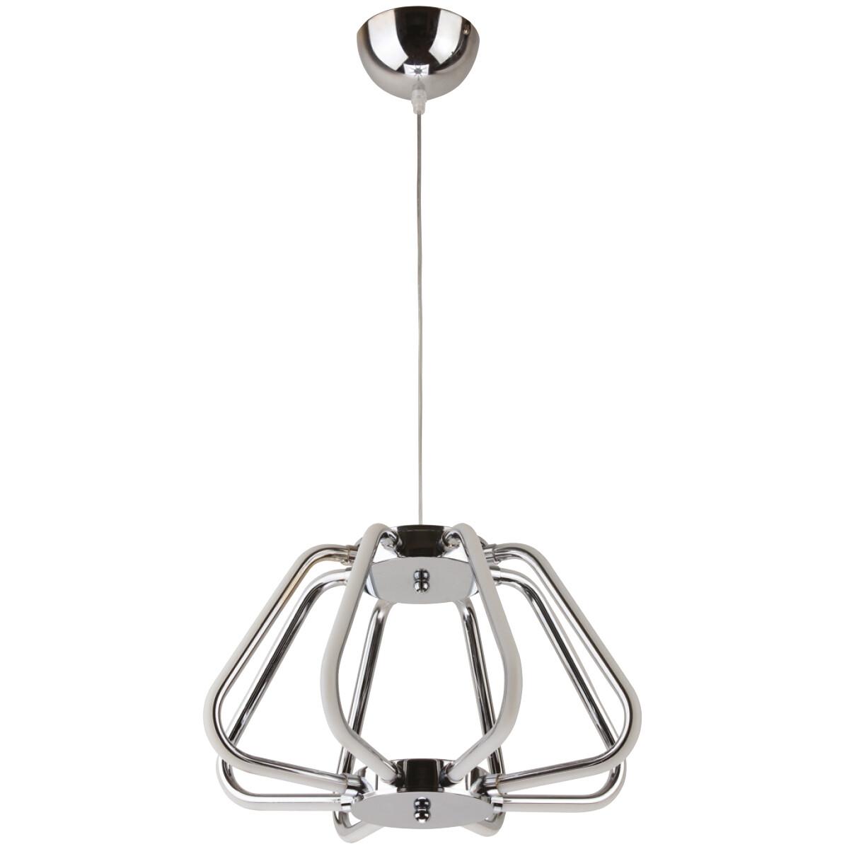 LED Hanglamp - Phoena - Industrieel - 38W - Natuurlijk Wit 4000K - Ovaal - Glans Chroom Aluminium