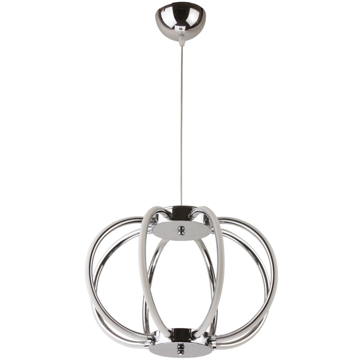 LED Hanglamp - Phoeny - Industrieel - 38W - Natuurlijk Wit 4000K - Rond - Glans Chroom Aluminium