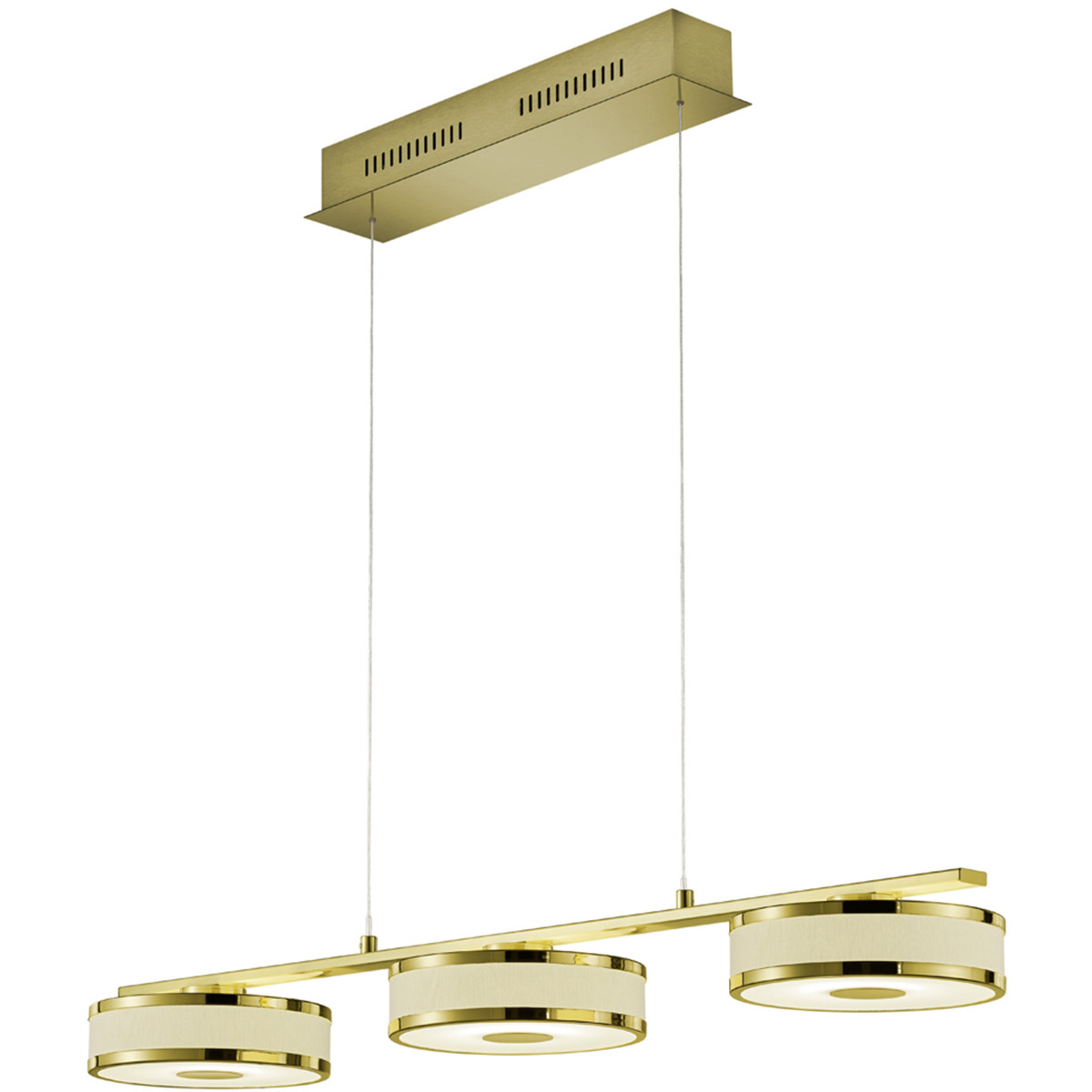 LED Hanglamp - Trion Agiany - 21W - Warm Wit 3000K - 3-lichts - Dimbaar - Rechthoek - Mat Goud - Alu