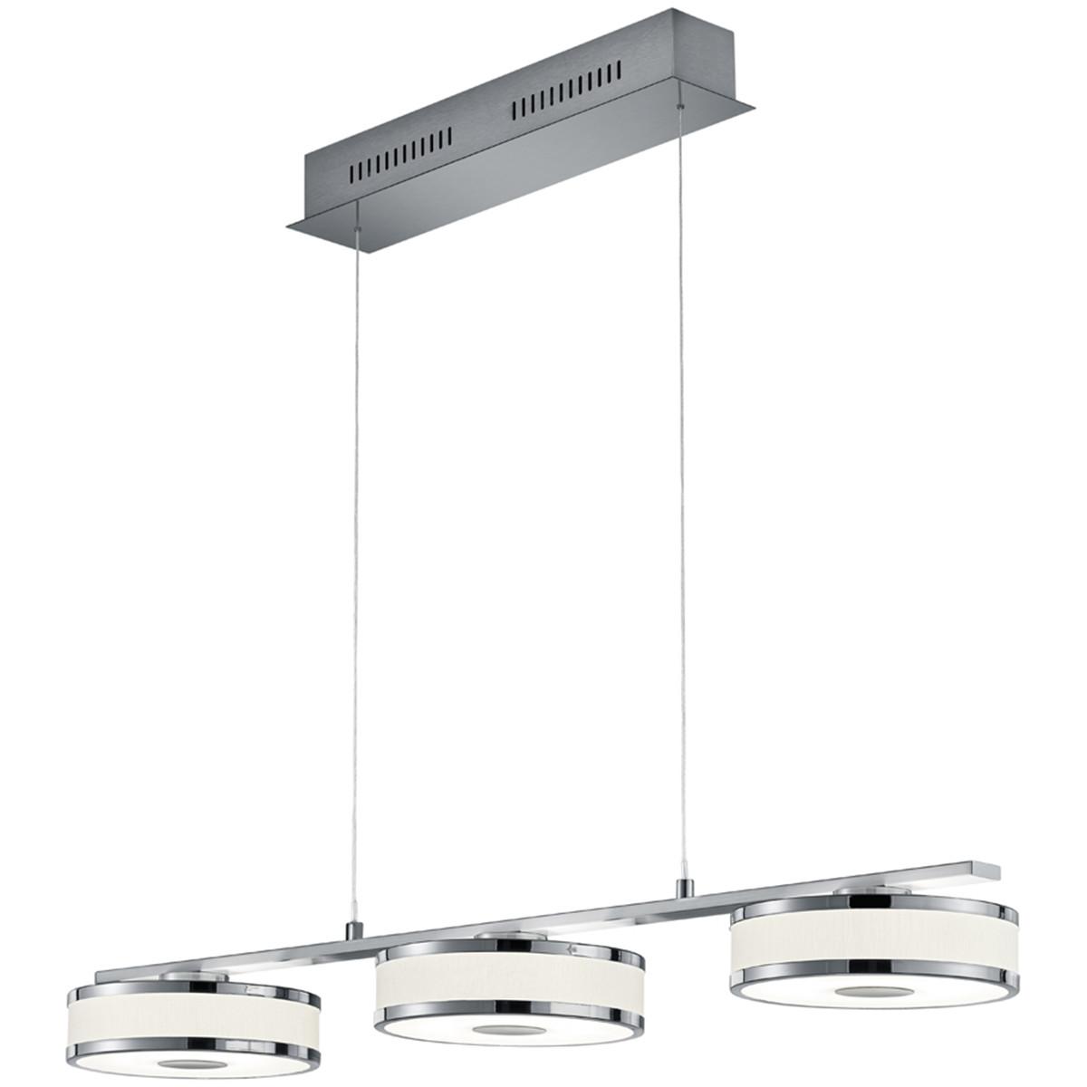 LED Hanglamp - Trion Agiany - 21W - Warm Wit 3000K - 3-lichts - Dimbaar - Rechthoek - Mat Nikkel - A