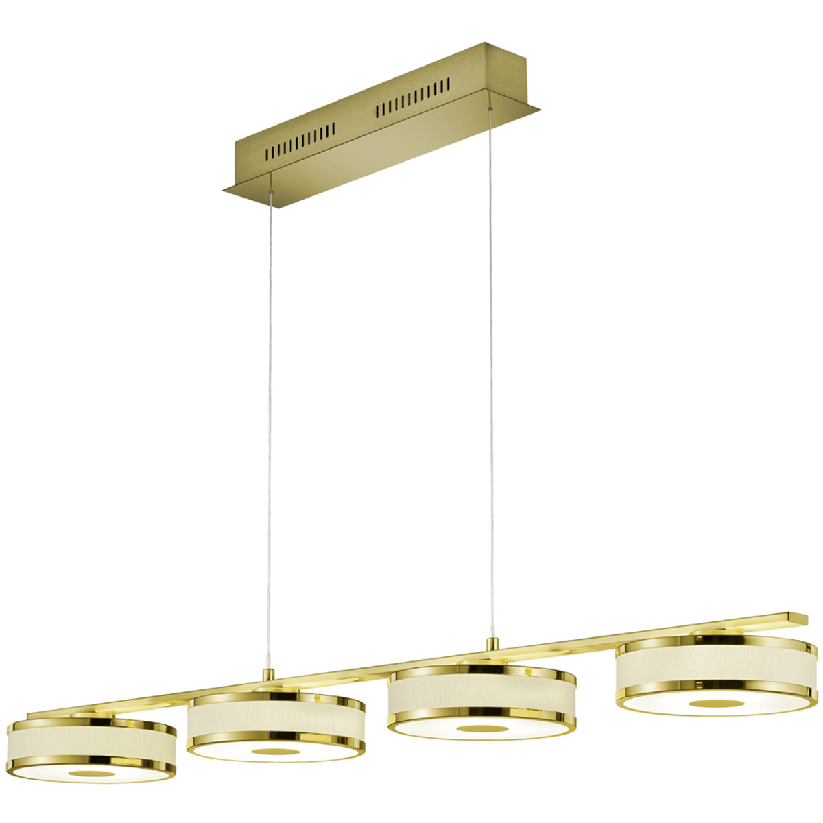 LED Hanglamp - Trion Agiany - 28W - Warm Wit 3000K - 4-lichts - Dimbaar - Rechthoek - Mat Goud - Alu
