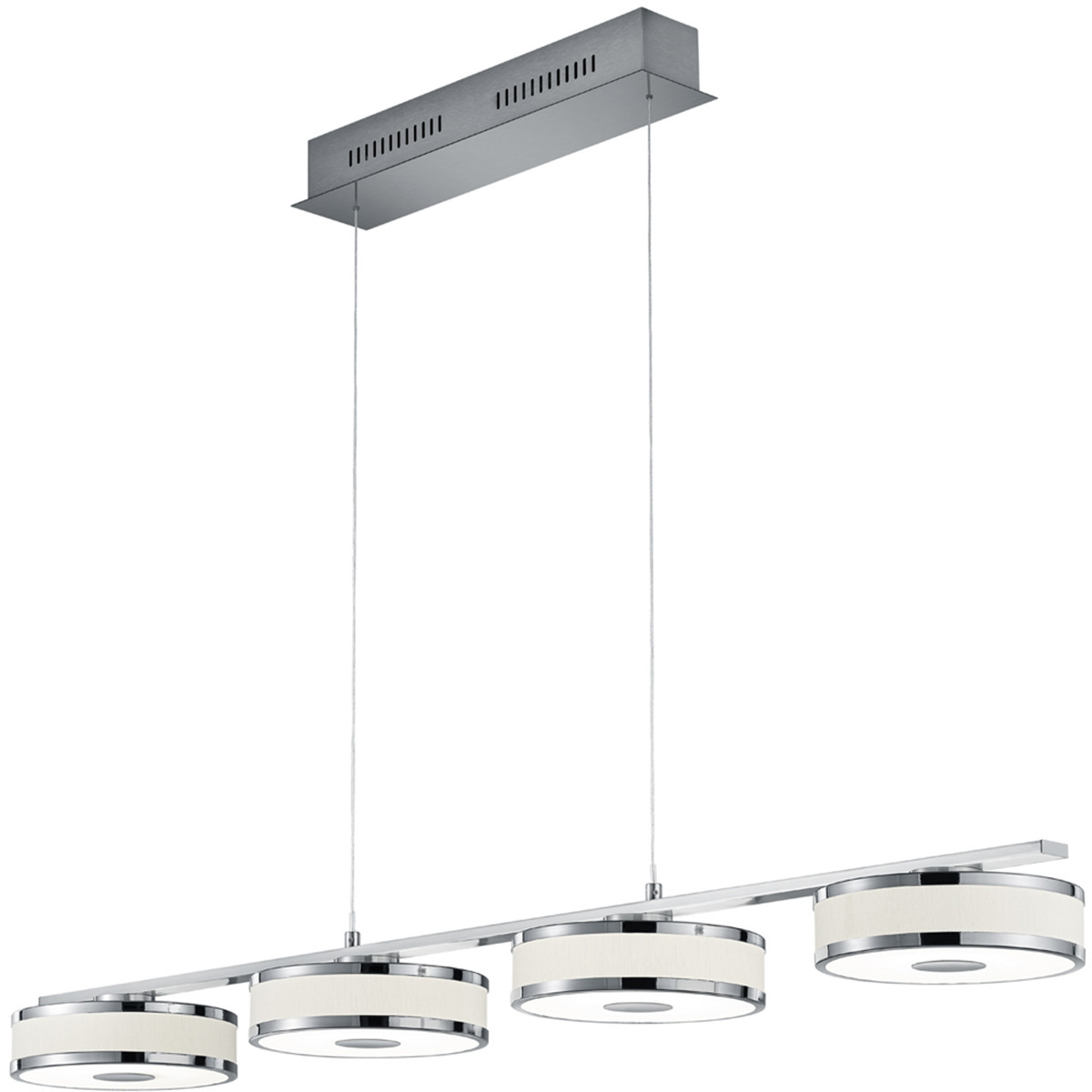 LED Hanglamp - Trion Agiany - 28W - Warm Wit 3000K - 4-lichts - Dimbaar - Rechthoek - Mat Nikkel - A