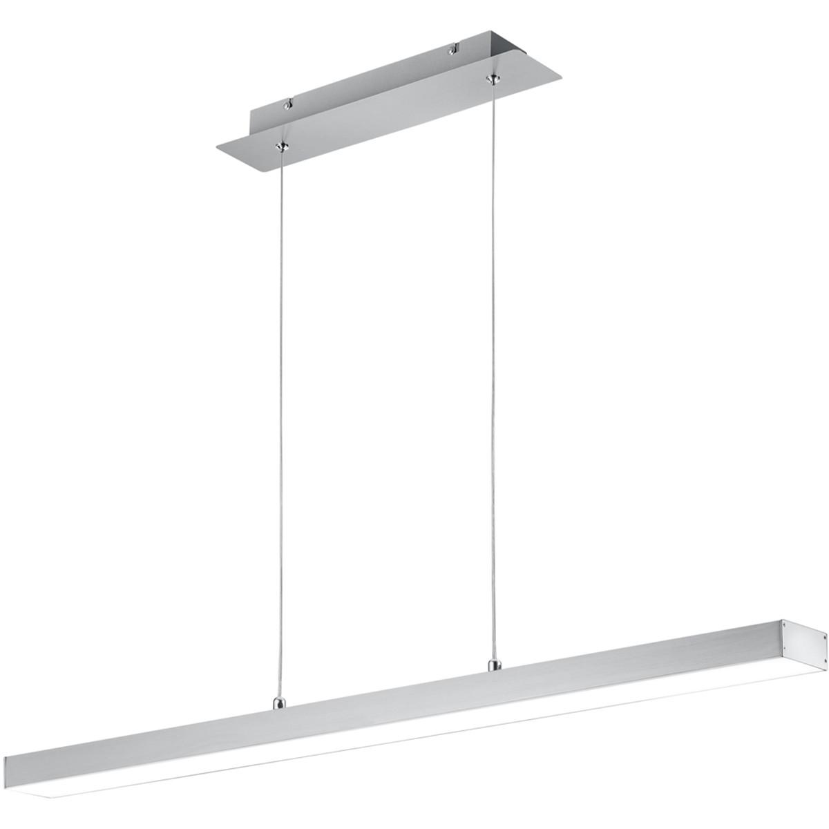 LED Hanglamp - Trion Agina - 18W - Aanpasbare Kleur - Dimbaar - Rechthoek - Mat Nikkel - Aluminium