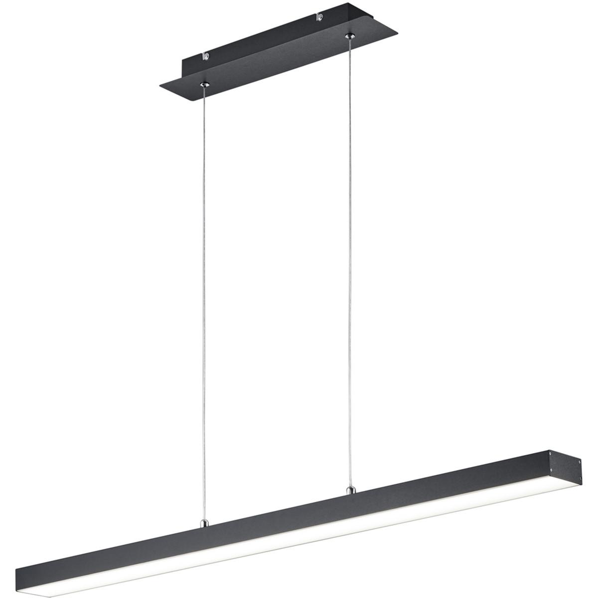 LED Hanglamp - Trion Agina - 18W - Aanpasbare Kleur - Dimbaar - Rechthoek - Mat Zwart - Aluminium