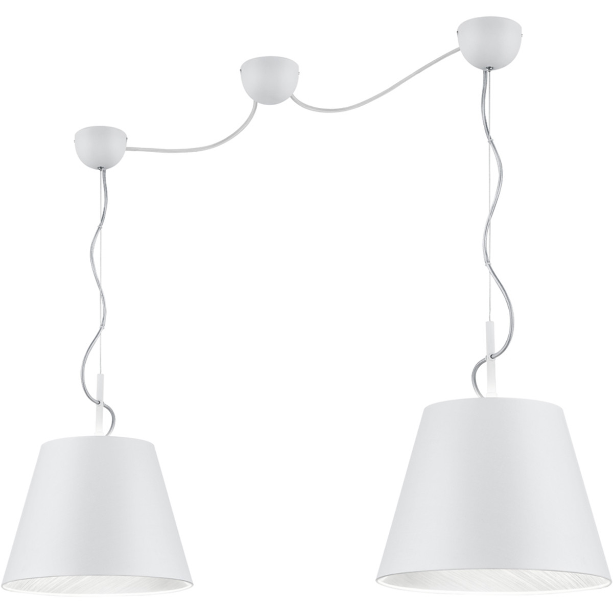 LED Hanglamp - Trion Andra - E27 Fitting - 2-lichts - Rond - Mat Wit - Aluminium