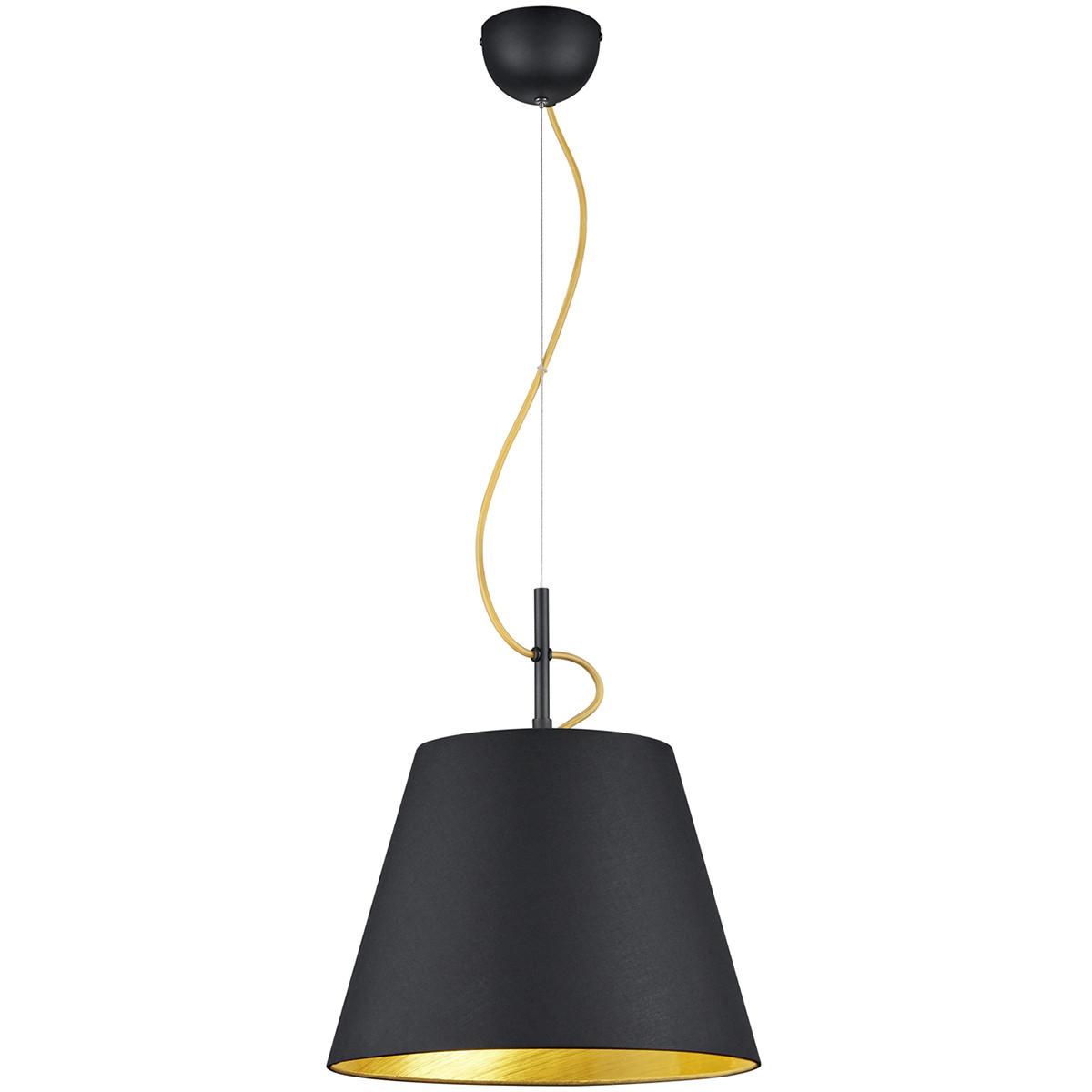 LED Hanglamp - Trion Andra - E27 Fitting - Rond - Mat Zwart - Aluminium