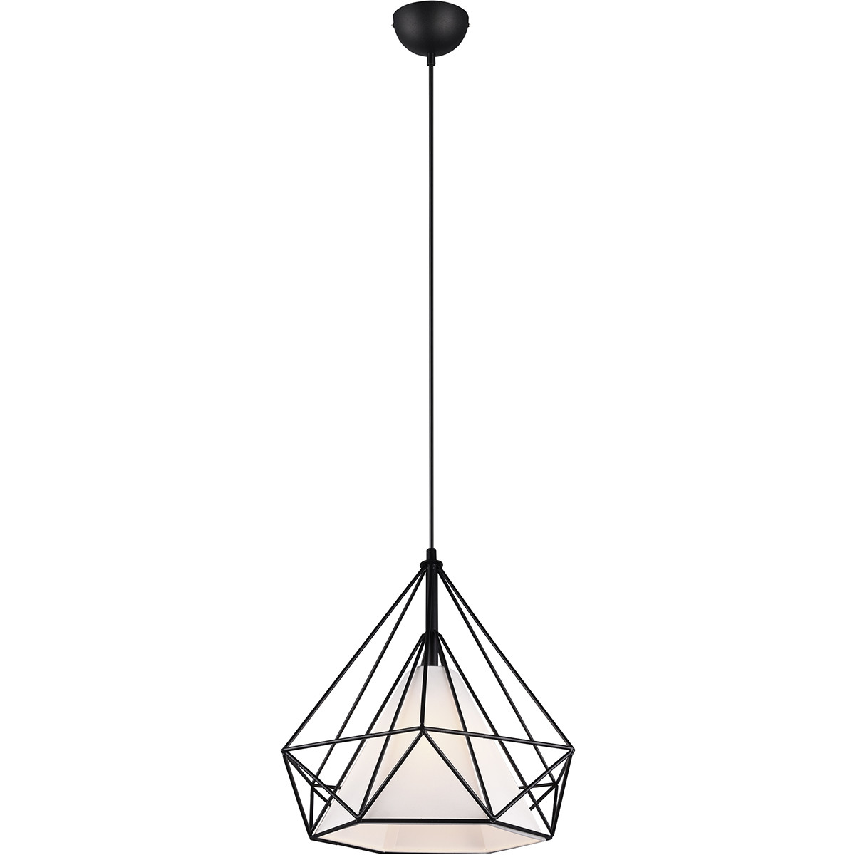 LED Hanglamp - Trion Babina - E27 Fitting - Rond - Mat Zwart - Aluminium/Textiel