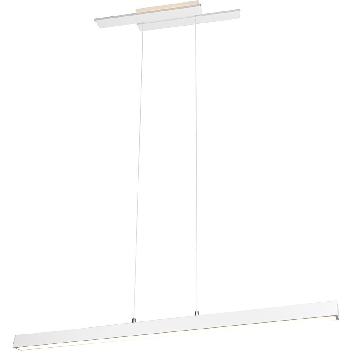 LED Hanglamp - Trion Balfy - 44W - Natuurlijk Wit 4000K - Rechthoek - Mat Wit - Aluminium
