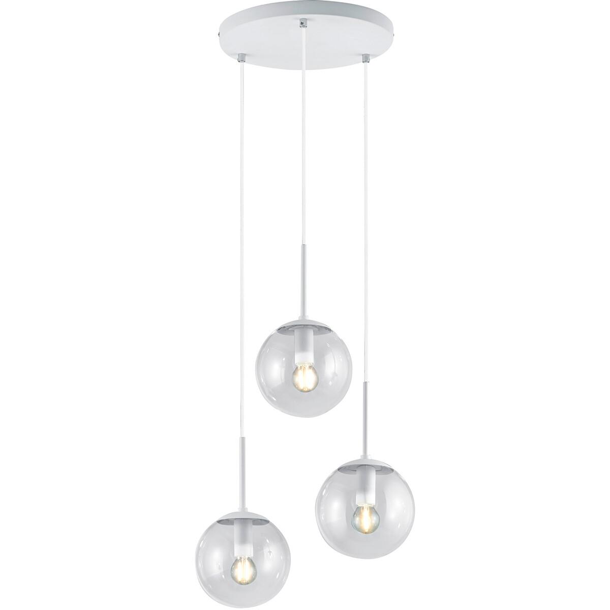 LED Hanglamp - Trion Balina - E14 Fitting - 3-lichts - Rond - Mat Wit - Aluminium
