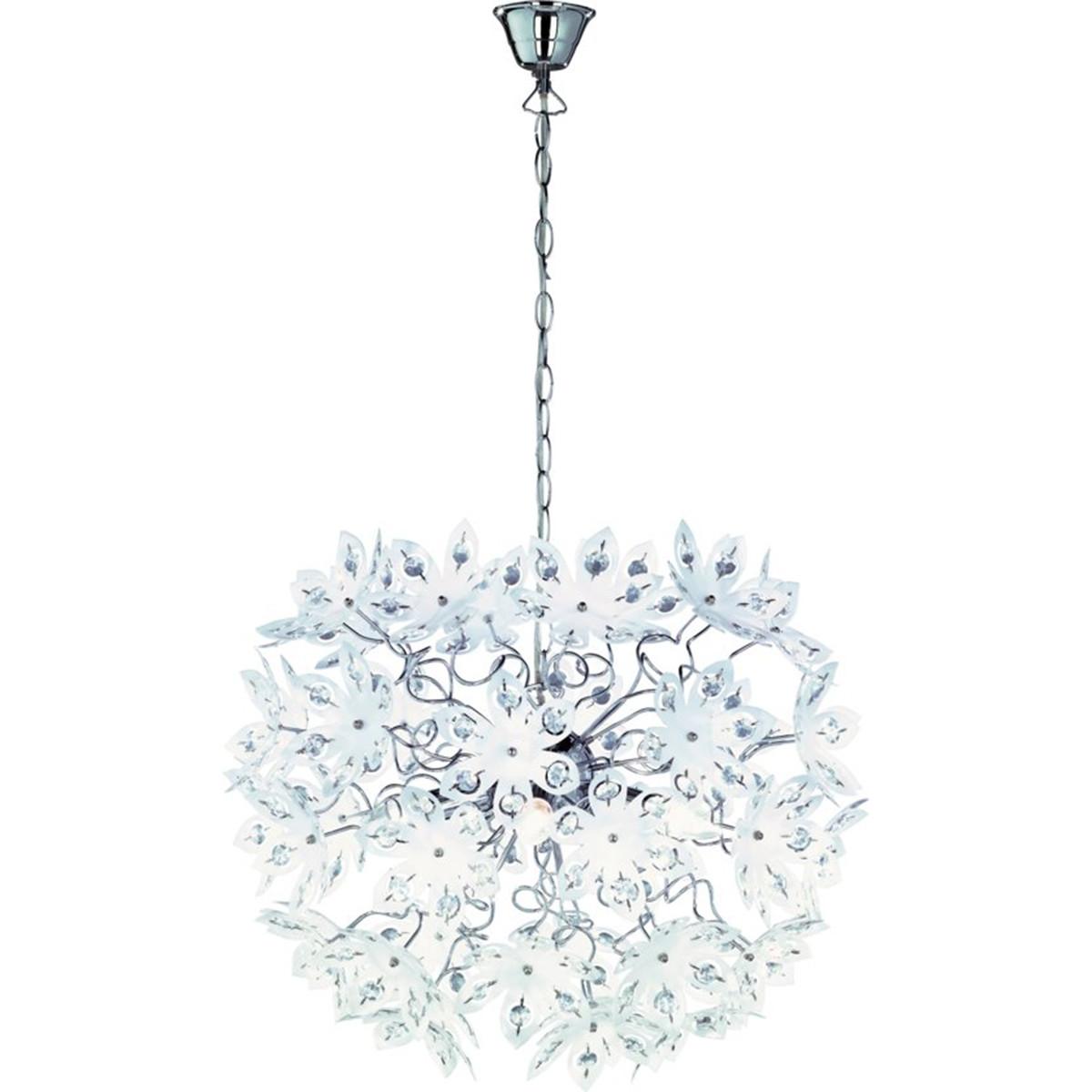 LED Hanglamp - Trion Blowly - E14 Fitting - 5-lichts - Rond - Glans Chroom - Aluminium
