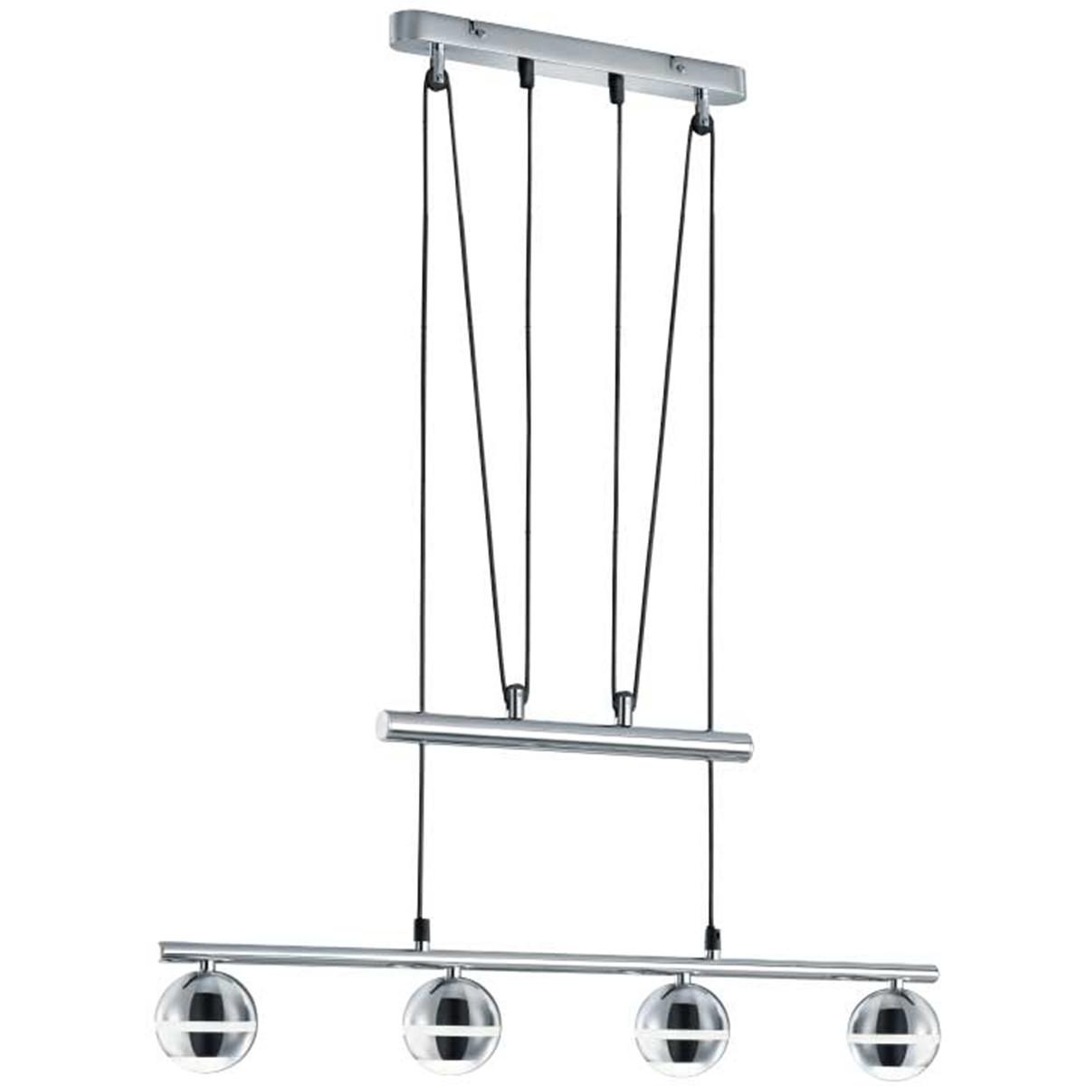 LED Hanglamp - Trion Bonaret - 12W - Warm Wit 3100K - 4-lichts - Rechthoek - Glans Chroom - Aluminiu