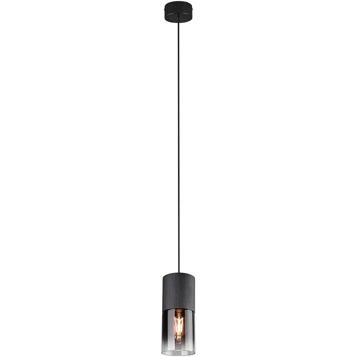 LED Hanglamp - Trion Borin - E27 Fitting - Rond - Mat Zwart - Aluminium