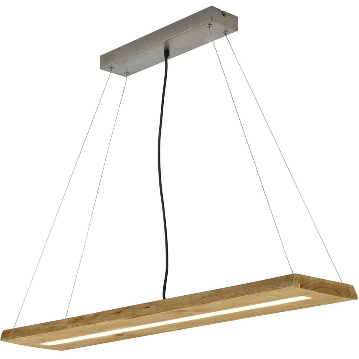 LED Hanglamp - Trion Brida - 27W - Warm Wit 3000K - 1-lichts - Dimbaar - Rechthoek - Mat Bruin - Nat