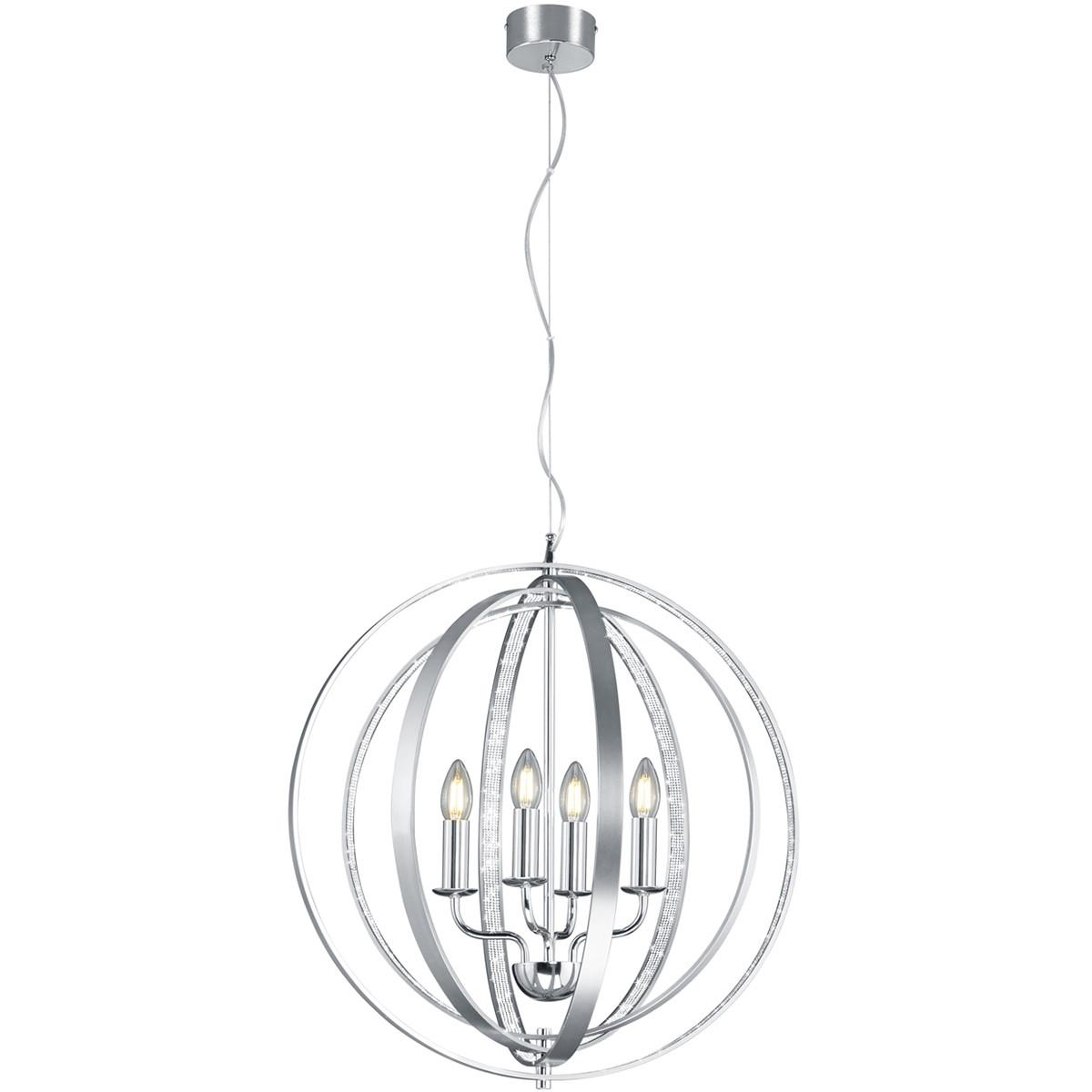 LED Hanglamp - Trion Carzola - E14 Fitting - Rond - Mat Chroom - Aluminium
