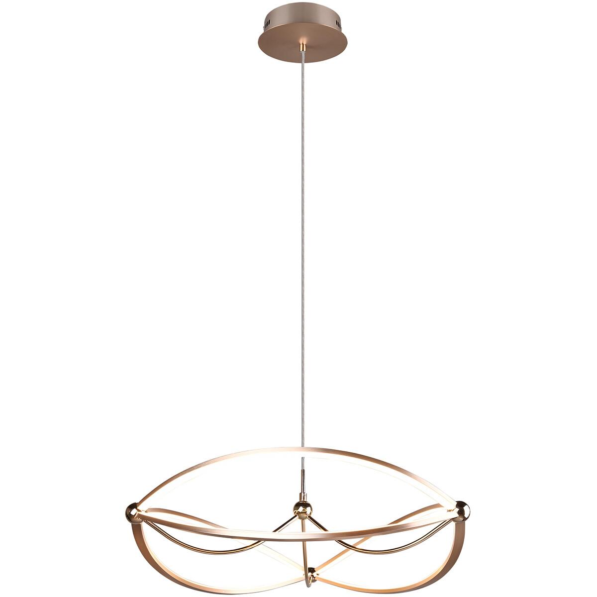 LED Hanglamp - Trion Charis - 42W - Warm Wit 3000K - Dimbaar - Rond - Mat Goud - Aluminium