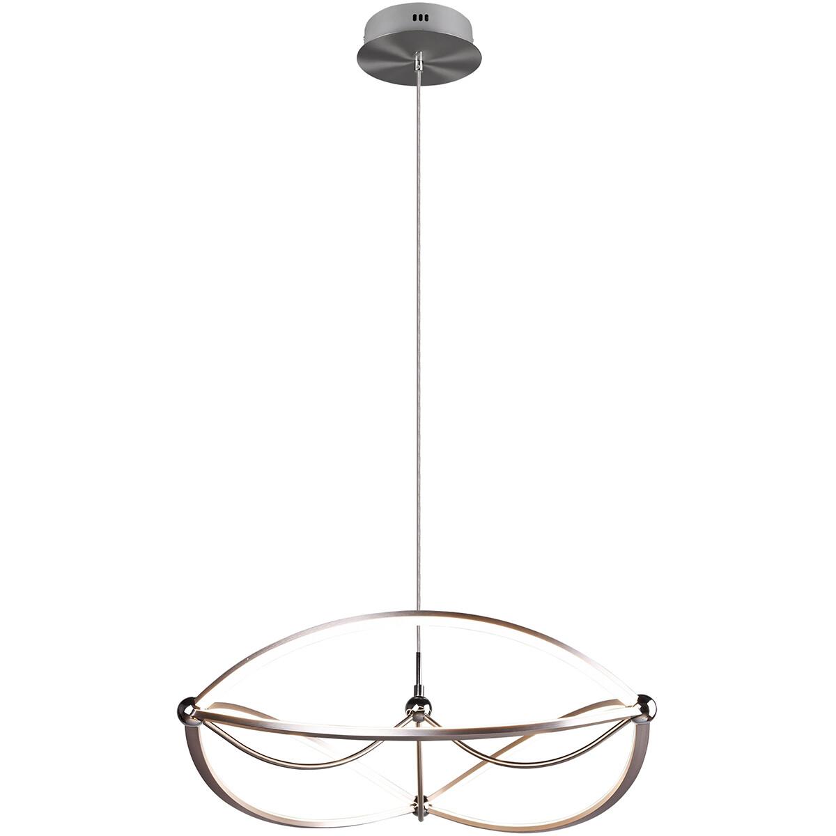 LED Hanglamp - Trion Charis - 42W - Warm Wit 3000K - Dimbaar - Rond - Mat Nikkel - Aluminium