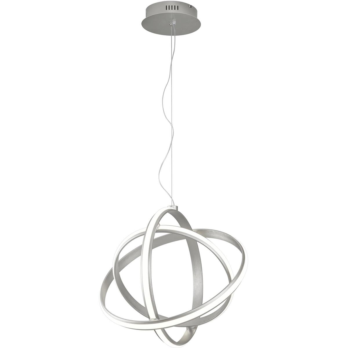 LED Hanglamp - Trion Compito - 45W - Warm Wit 3000K - Dimbaar - Rond - Mat Nikkel - Aluminium