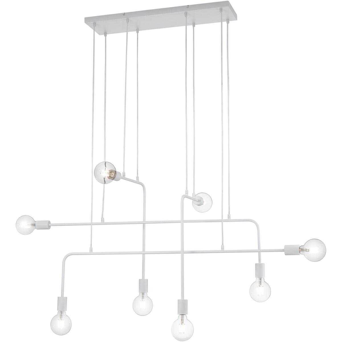 LED Hanglamp - Trion Conar - E27 Fitting - Rechthoek - Mat Wit - Aluminium