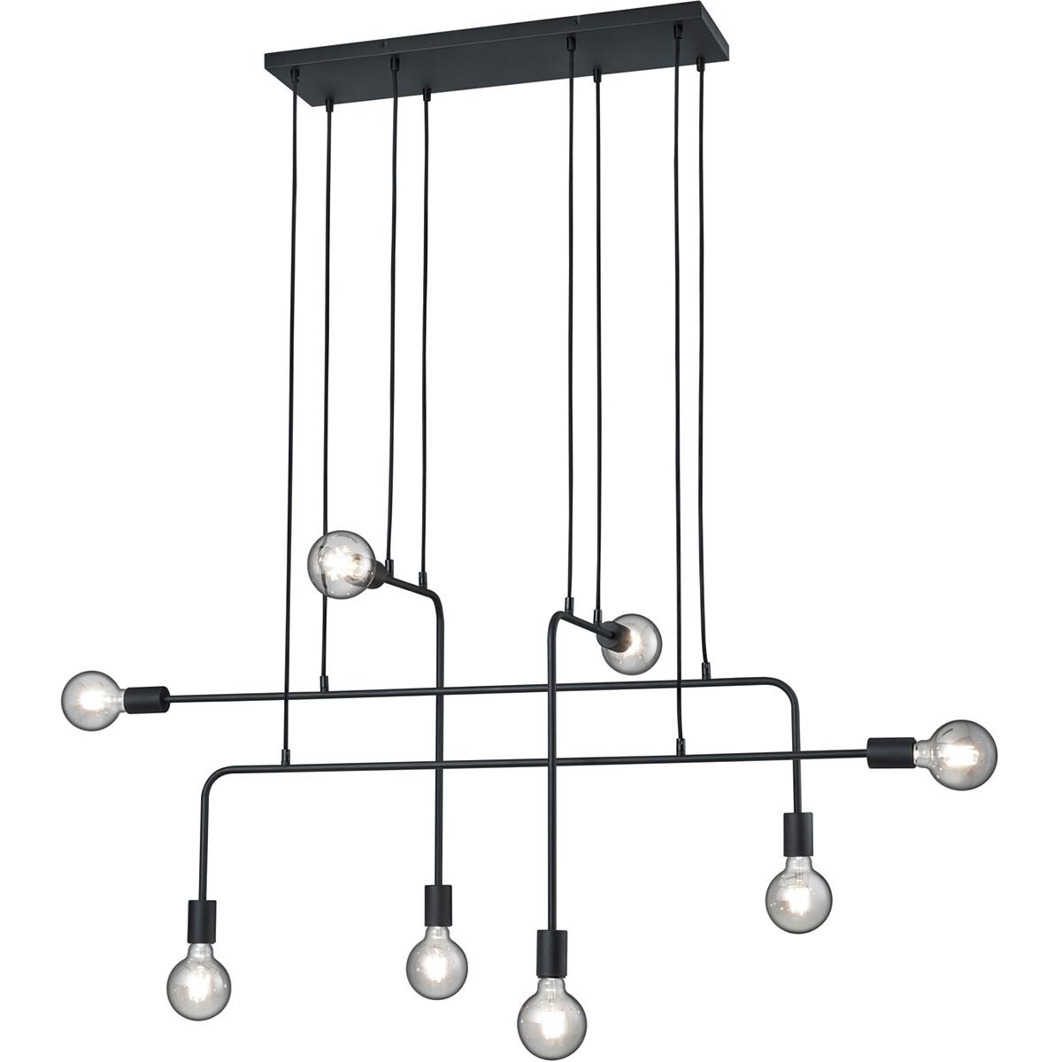 LED Hanglamp - Trion Conar - E27 Fitting - Rechthoek - Mat Zwart - Aluminium