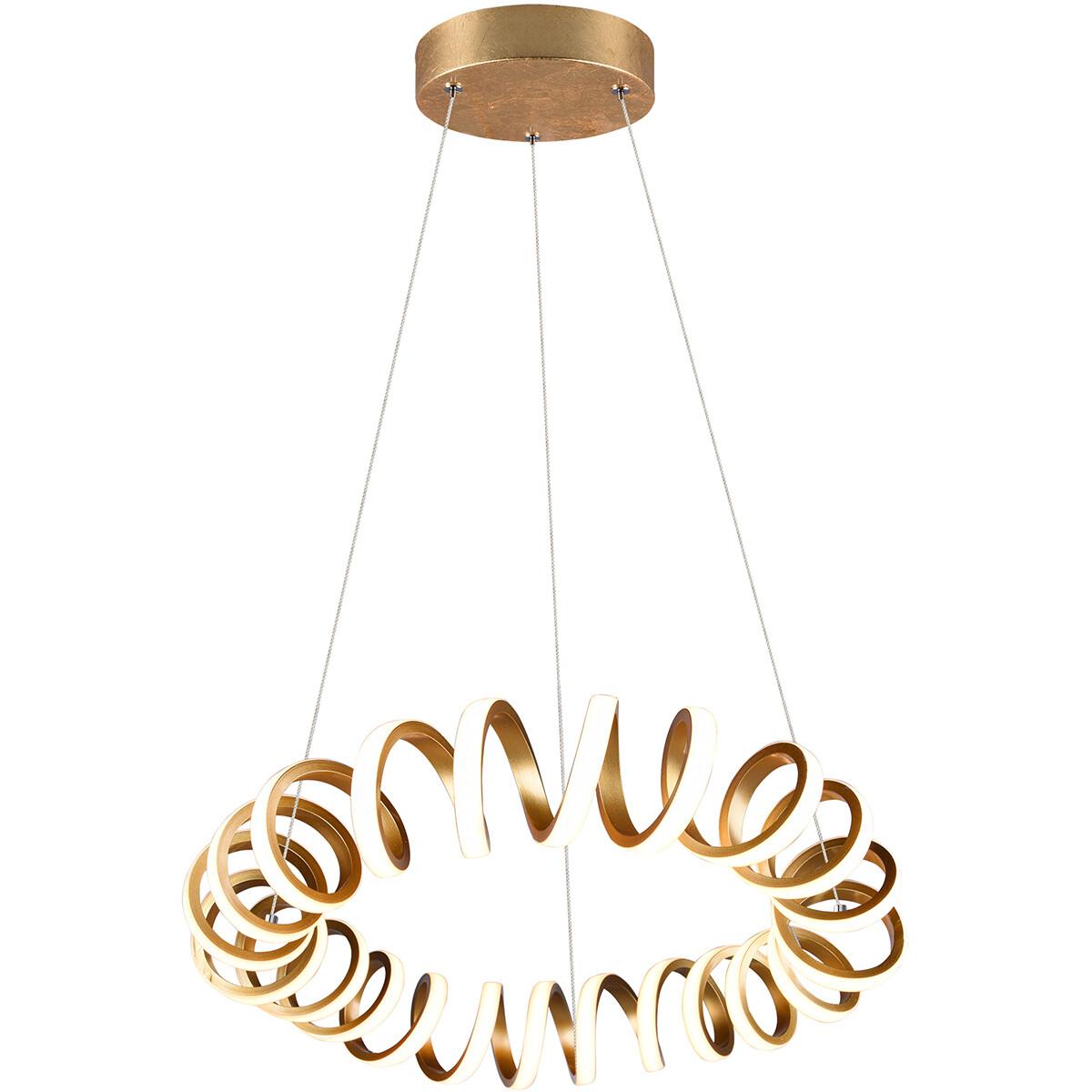 LED Hanglamp - Trion Coral - 33W - Warm Wit 3000K - Dimbaar - Rond - Mat Goud - Aluminium