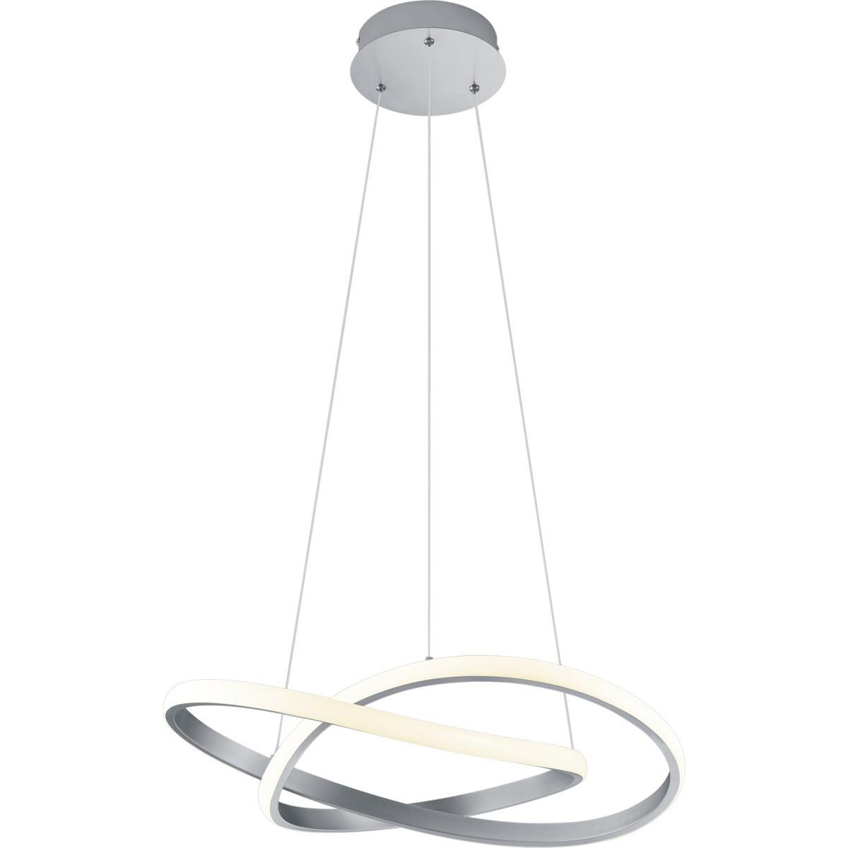 LED Hanglamp - Trion Corcy - 27W - Warm Wit 3000K - Dimbaar - Rond - Mat Nikkel - Aluminium