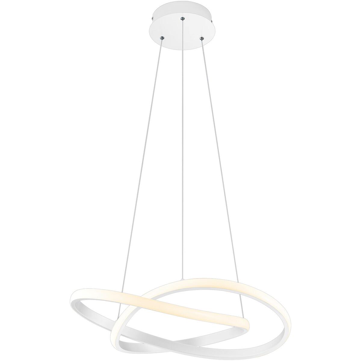 LED Hanglamp - Trion Corcy - 27W - Natuurlijk Wit 4000K - Dimbaar - Rond - Mat Wit - Aluminium