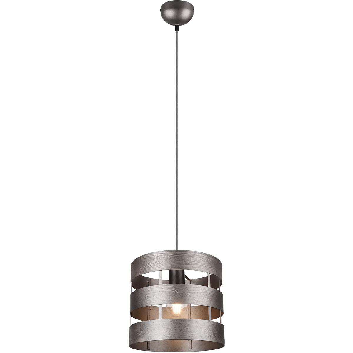 LED Hanglamp - Trion Doncan - E27 Fitting - 1-lichts - Rond - Mat Nikkel - Aluminium