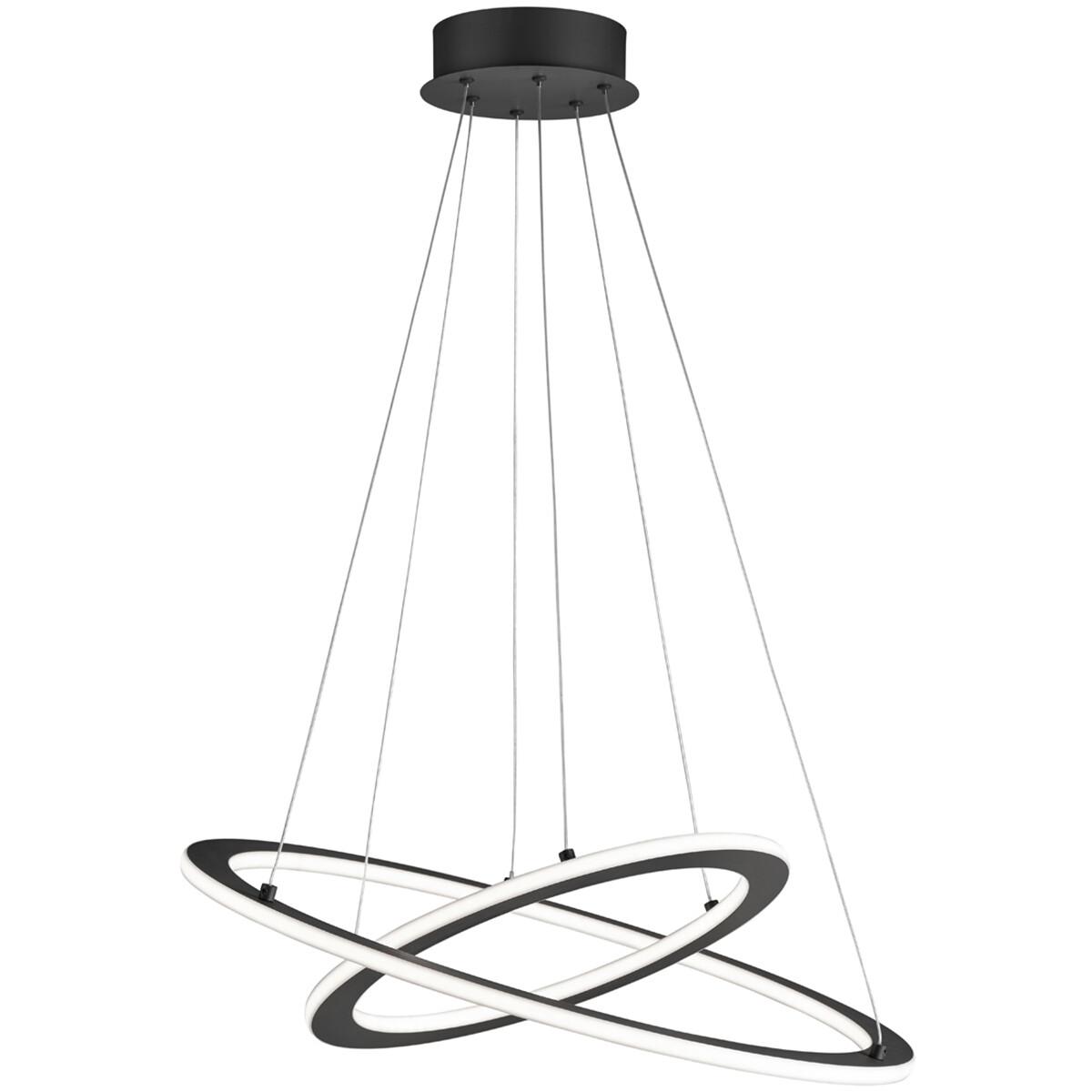 LED Hanglamp - Trion Duban - 40W - Warm Wit 3000K - Dimbaar - Rond - Mat Zwart - Aluminium
