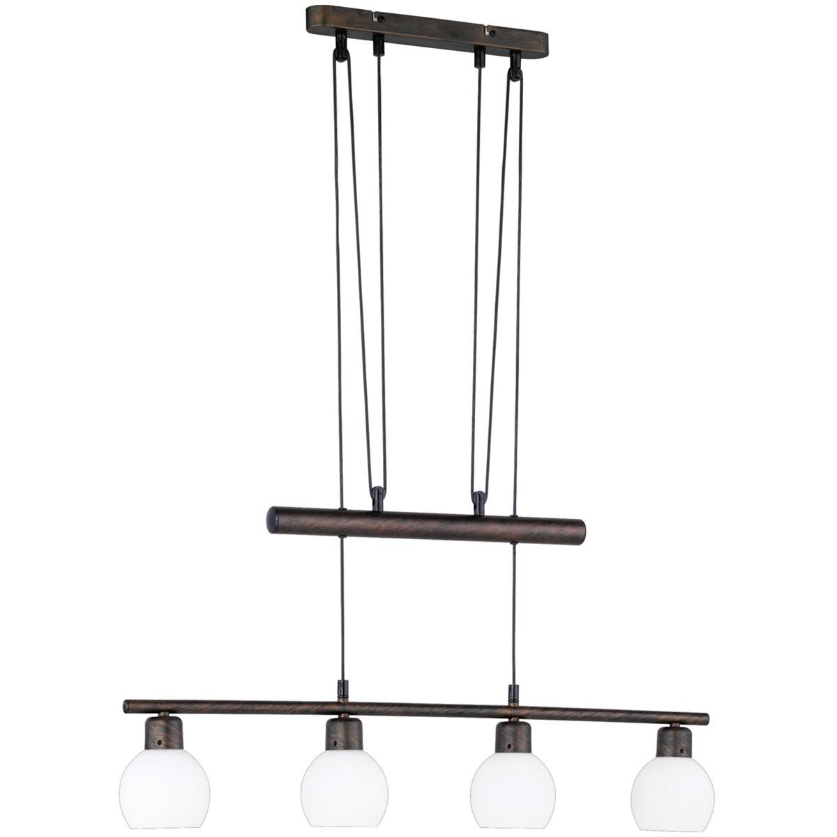 LED Hanglamp - Trion Frudo - 16W - E14 Fitting - Warm Wit 3000K - Dimbaar - Rechthoek - Roestkleur -