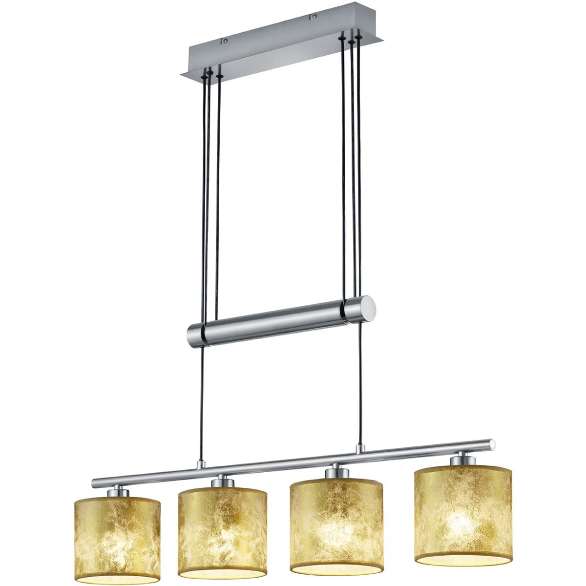 LED Hanglamp - Trion Gorino - E14 Fitting - 4-lichts - Rechthoek - Mat Goud - Aluminium