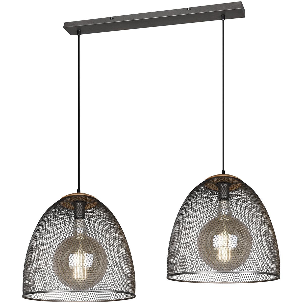 LED Hanglamp - Trion Ivan - E27 Fitting - 2-lichts - Rond - Antiek Nikkel - Aluminium