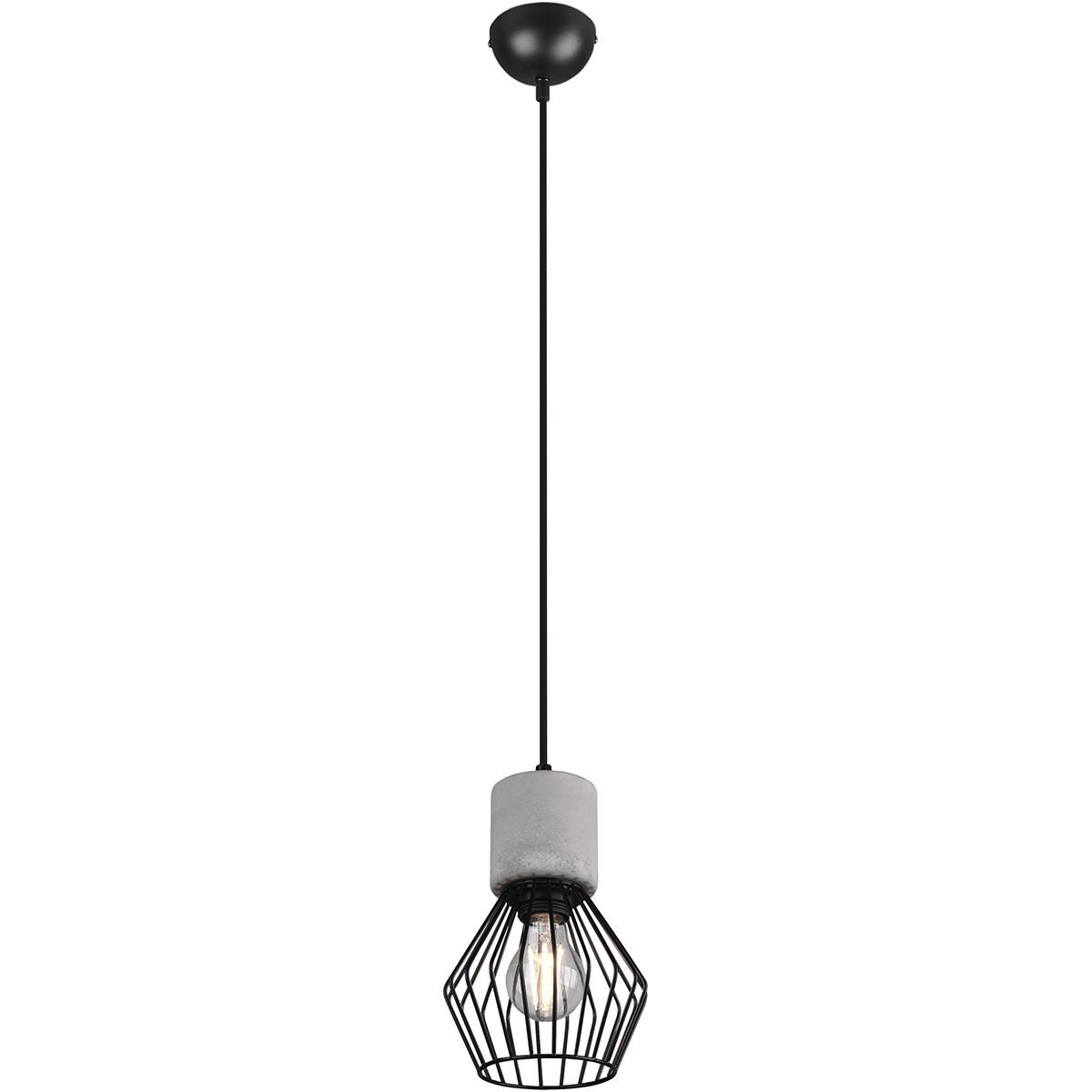 LED Hanglamp - Trion Jamo - E27 Fitting - 1-lichts - Rond - Mat Zwart - Aluminium
