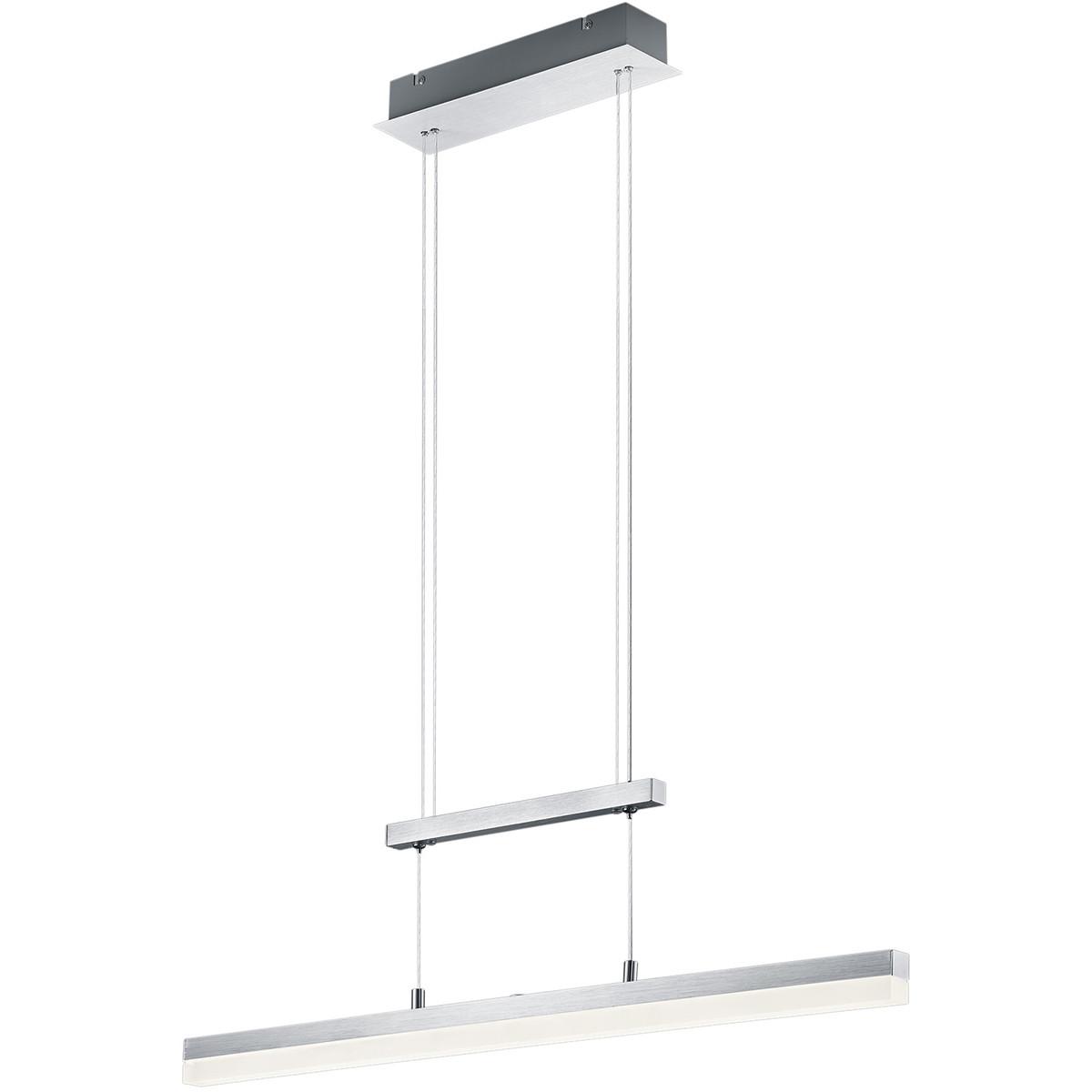 LED Hanglamp - Trion Kalvira - 20W - Warm Wit 3000K - Dimbaar - Rechthoek - Mat Chroom - Aluminium