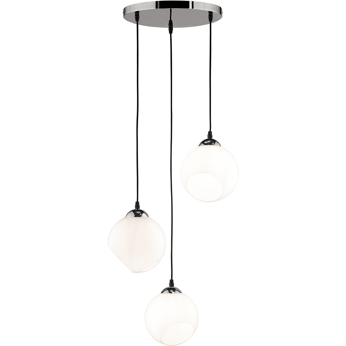 LED Hanglamp - Trion Klino - E27 Fitting - 3-lichts - Rond - Mat Chroom - Aluminium