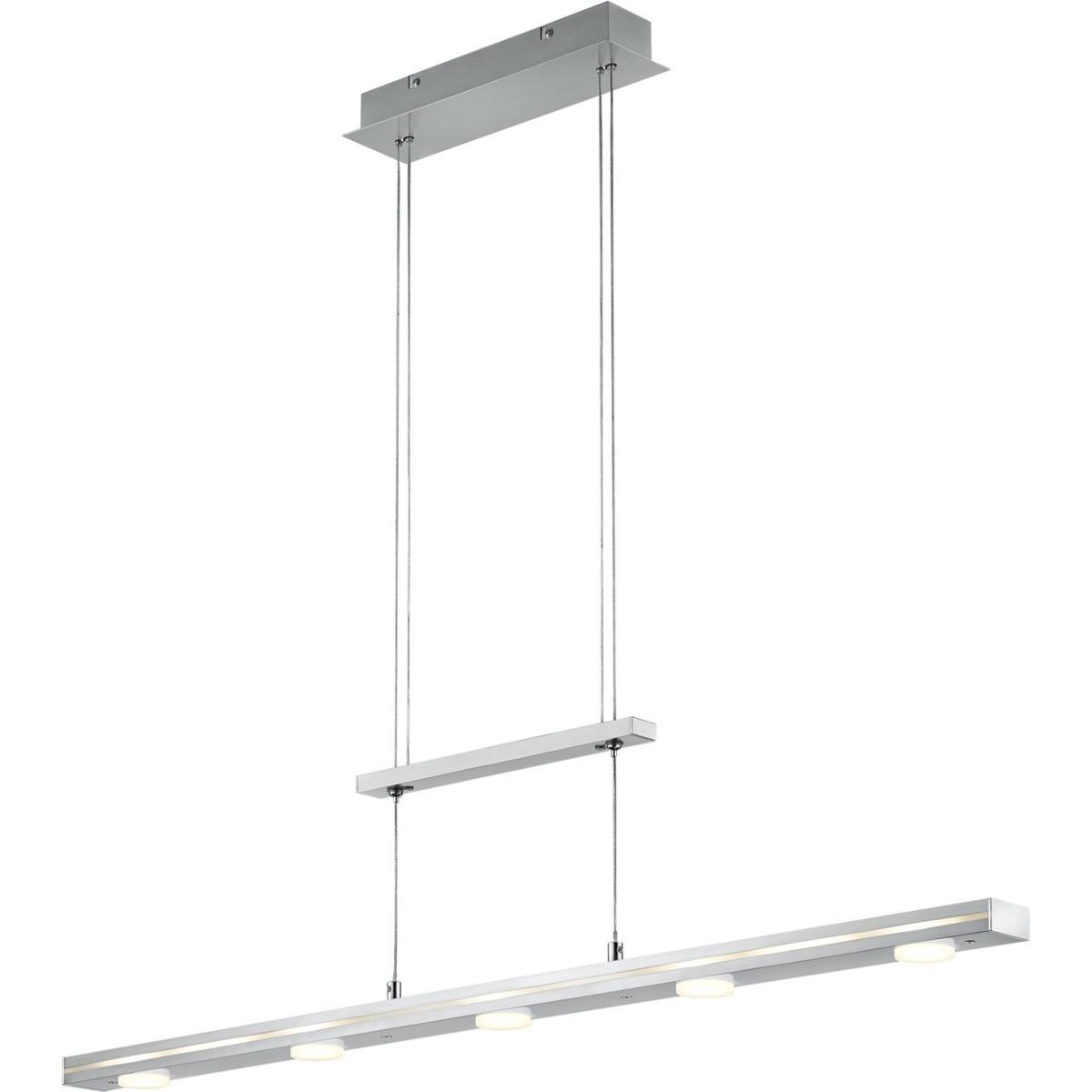 LED Hanglamp - Trion Lacy - 21W - Aanpasbare Kleur - 7-lichts - Dimbaar - Rechthoek - Mat Nikkel - A