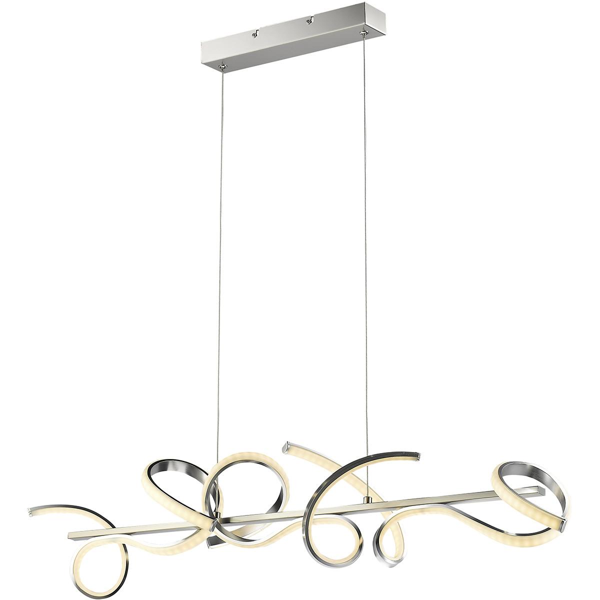 LED Hanglamp - Trion Mestino - 20W - Warm Wit 3000K - Dimbaar - Rechthoek - Mat Nikkel - Aluminium