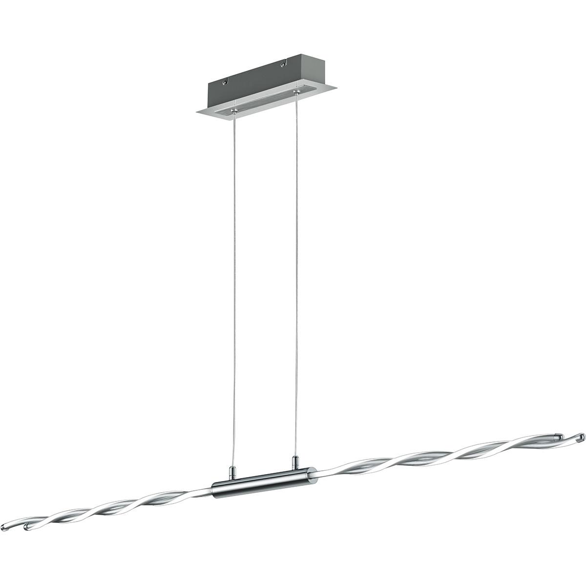 LED Hanglamp - Trion Partino - 28W - Warm Wit 3000K - 4-lichts - Dimbaar - Rechthoek - Glans Chroom
