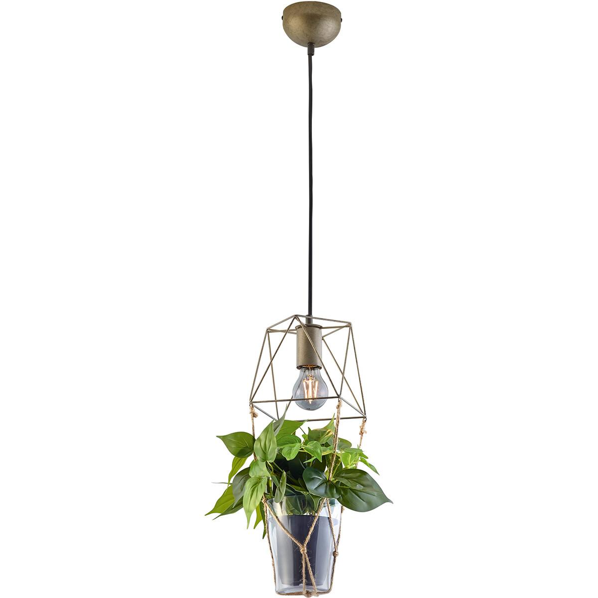 LED Hanglamp - Trion Plantan - E27 Fitting - 1-lichts - Rond - Antiek Nikkel - Aluminium