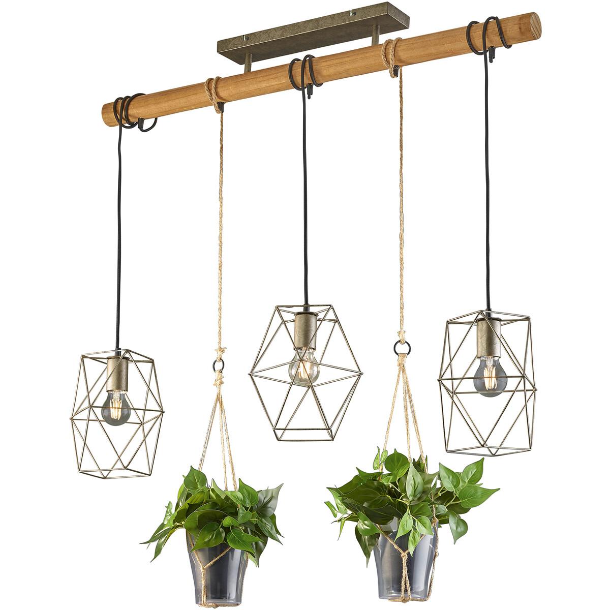 LED Hanglamp - Trion Plantan - E27 Fitting - 3-lichts - Rechthoek - Antiek Nikkel - Aluminium