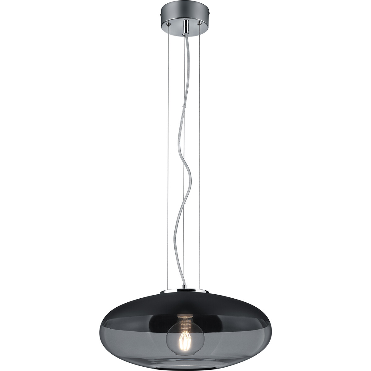 LED Hanglamp - Trion Portony - E27 Fitting - Rond - Mat Zwart - Aluminium