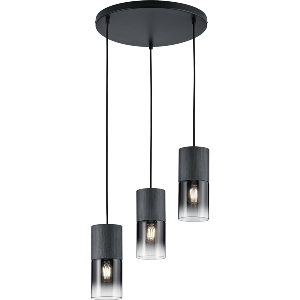 LED Hanglamp - Trion Roba - E27 Fitting - 3-lichts - Rond - Mat Zwart Rookglas - Aluminium
